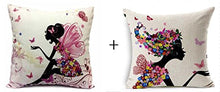 Load image into Gallery viewer, 1 set 2 pcs Flower Fairy Girl with Pink Wing Elves and Butterflies New Decorative Pillowcase Throw Pillow Cushion Cover Square 18 18 Home Life ¡­