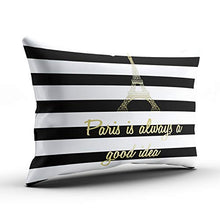 Load image into Gallery viewer, WEINIYA Bedroom Custom Decor Paris is Always a Good Idea Gold and White Throw Pillow Cover Cushion Case Fashion One Sided Printed Design Boudoir 12x16 Inches