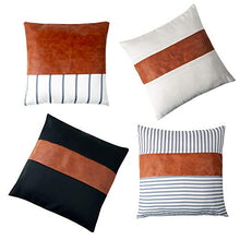 Load image into Gallery viewer, Eiyye 4-Pack Pillow Case Throw Pillow Covers for Couch Sofa Stripe Faux Leather Farmhouse Decorative Modern Decor 18 x 18 Inches