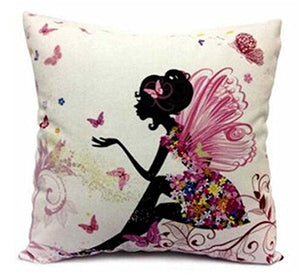 1 set 2 pcs Flower Fairy Girl with Pink Wing Elves and Butterflies New Decorative Pillowcase Throw Pillow Cushion Cover Square 18 18 Home Life ¡­