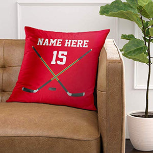 Emvency Throw Pillow Cover Red Ideas Personalized Hockey Name Number Black Boys Decorative Pillow Case Home Decor Square 20 x 20 Inch Pillowcase