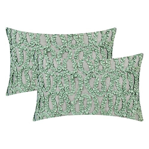 The White Petals Sage Green Couch Pillow Covers