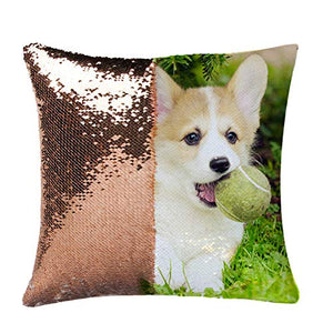 LQS0702 Personalized Sequin Pillow, Personal Customize Cushion, Personalized Pet Photo Pillow, Custom Gifts 15.75x15.75 Inches