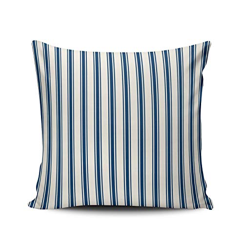 MUKPU Fashion Home Decoration Design Throw Pillow Case Classic Stripe Pattern Navy and White 24X24 Inch Square Custom Pillowcase Cushion Cover Double Sided Printed