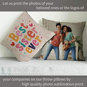 Custom Photo Pillow Cases  Personalized Decorative 16x16 Throw Pillow Cover w  Any Picture Box  Burlap Throw Pillowcase - Home Decor Decorative Canvas Cushion Cover for Couch or Sofa - Photo Gifts