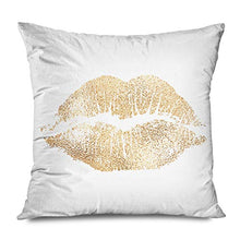 Load image into Gallery viewer, Ahawoso Throw Pillow Cover Decorative Square 16x16 Kiss Seductive Romance Female Lip Imprint Beauty Sex Desire Cosmetic Glam Lipstick Mark Foil Mouth Zippered Pillowcase Home Decor Cushion Case
