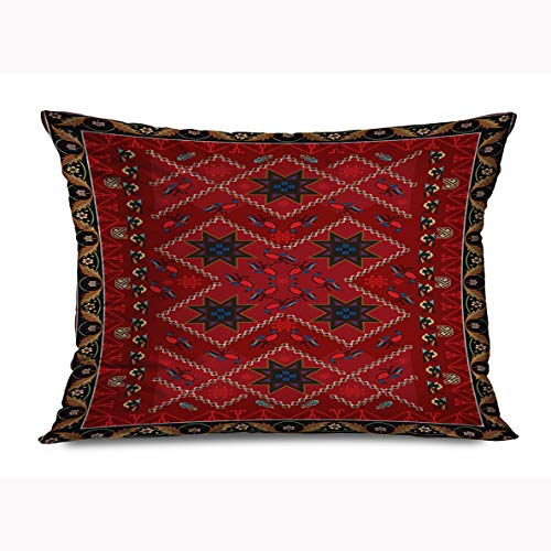 Onete Throw Pillow Cover 20x26 Inches Kilim Ornate Pattern Artistic Oriental Carpet Knotted Colors Textured Abstract Turkish Red Design Decorative Cushion Case Home Decor Zippered Pillowcase