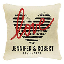 Load image into Gallery viewer, Home Decor Personalized Printed Throw Pillow Case 18X18  Couples Love Cover  Custom Wedding House Gift  Heart with Names  Design #5