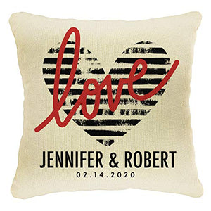 Home Decor Personalized Printed Throw Pillow Case 18X18  Couples Love Cover  Custom Wedding House Gift  Heart with Names  Design #5