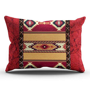 MUKPU Custom Home Decoration Throw Pillowcase Cushion Cover Red County South Western Tribal Print King 20X36 Inches One Side Design