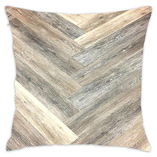 Contemporary Caramel Brown Grey Beige Farmhouse Barn Wood Throw Pillow Case Cushion Cover for Home Decor Bedroom Sofa and Car 18 X 18 inches