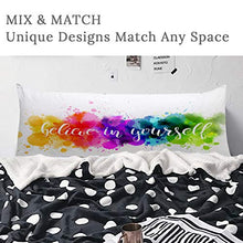 Load image into Gallery viewer, ARIGHTEX Watercolor Rainbow Body Pillow Cover Splatter Colorful Abstract Long Pillow Decorative for Bed Pillowcase 20x54 Inch  Zipper Along Whole Side