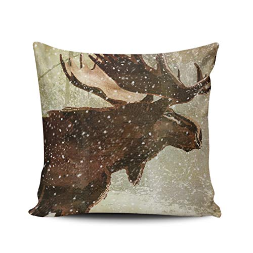 WEINIYA Home Decoration Throw Pillow Case Brown 22X22 Inch Moose and Bear Wildlife in The Snow Square Custom Pillowcase Cushion Cover Double Sided Printed