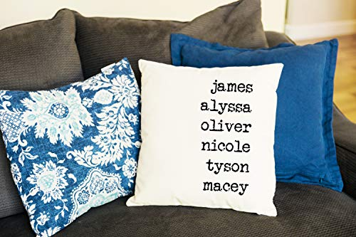 Qualtry Personalized Throw Pillow Covers Family House Decor 18 in x 18 in - Great Birthday Gifts for Mom and Grandma Also a Unique Warming Gift