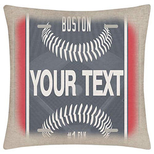 Bleu Reign BRGiftShop Personalized Custom Name Baseball Team New York Blue 1575x1575 inches Linen Pillow Cover - no Insert