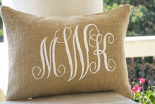 Load image into Gallery viewer, Amore Beaute Handcrafted Customizable Burlap Monogram Pillow Covers -Custom Lumbar Monogram Pillow Cursive Three Letters Monogram Pillows- Initial Cushion Covers- Dorm Decor - Valentine Pillow 12x20