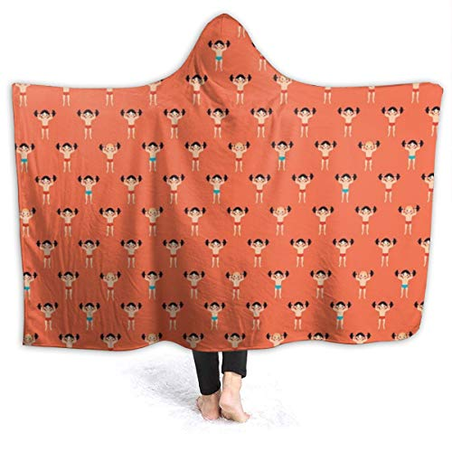 Soft Cozy Hooded Throw Wrap for Sofa Couch Winter/Autumn, Large Throw Wearable Cuddle Keep Warm Sherpa Plus Velvet Camping Blankets (Boxer Dog Pattern Dog Lover Pet Blankets)