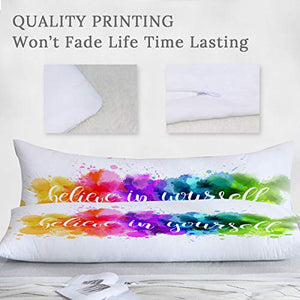 ARIGHTEX Watercolor Rainbow Body Pillow Cover Splatter Colorful Abstract Long Pillow Decorative for Bed Pillowcase 20x54 Inch  Zipper Along Whole Side