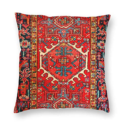2018 pants Oriental Carpet Persian Rug Red Throw Pillow Covers Decorative Couch Pillow Cases Cotton Pillow Square Cushion Cover for Sofa Couch Bed and Car 16 X 16 Inches