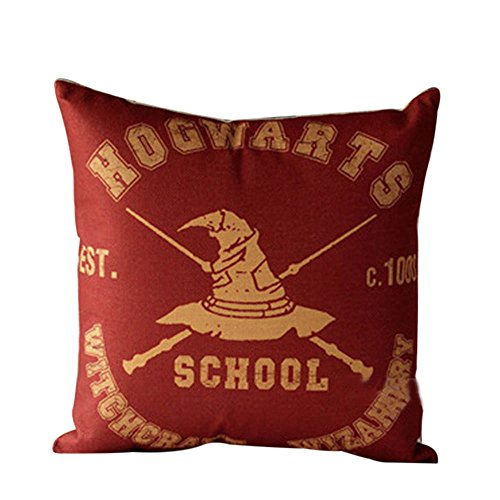 MHB Home Décor Square Throw Pillow Case Hogwarts Theme Cotton Linen Accent Pillows for Sofa 18x18 Inch