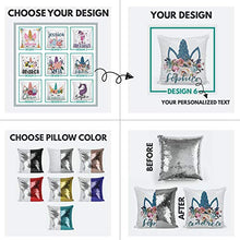 Load image into Gallery viewer, Unicorn Gifts Personalized Mermaid Sequin Throw Pillowcases  9 Designs  Custom Magic Reversible Pillows w Your Name  Light Blue Decorative Cushion Pillow Cover Gifts for Girls - Christmas Decor