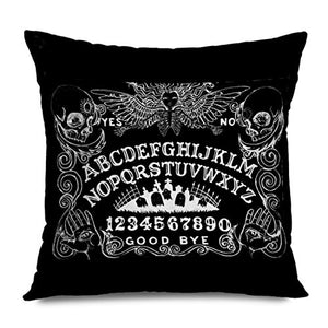 Ahawoso Throw Pillow Cover Square 18x18 Inches Spirit Witch Board Black Gothic Goth Occult Witchcraft Cushion Case Home Decor Zippered Pillowcase