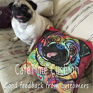 "CafeTime Cute Pet Dog Labrador Pillow Covers Custom Throw Pillow Cases for Gift Colorful Art Dog Square Decorative Cushion Cover for Sofa Couch Seat 18""x18""Inch"