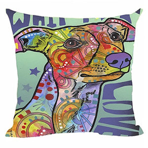 Whippet Pillow Covers Colorful Animals Sofa Bed Decorative Cushion Cover Custom Canvas Throw Pillow Cases Good Gift for Dog Lovers 20x20Inch by CafeTime