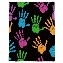 "Load image into Gallery viewer, T&H XHome Flannel Fleece Throw Blanket Colorful Handprint Black Pattern Extra Soft Double Side Fuzzy & Plush Summer Blanket, Fluffy Cozy Blanket for Adult Kids Pet - Lightweight,Non Shedding, 50""x80"""