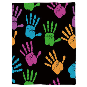 "T&H XHome Flannel Fleece Throw Blanket Colorful Handprint Black Pattern Extra Soft Double Side Fuzzy & Plush Summer Blanket, Fluffy Cozy Blanket for Adult Kids Pet - Lightweight,Non Shedding, 50""x80"""