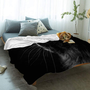 "T&H XHome Flannel Fleece Throw Blanket Black 3D Cat Face Animal Pattern Extra Soft Double Side Fuzzy & Plush Summer Blanket, Fluffy Cozy Blanket for Adult Kids Pet - Lightweight,Non Shedding, 50""x80"""