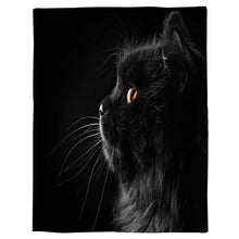 "Load image into Gallery viewer, T&H XHome Flannel Fleece Throw Blanket Black 3D Cat Face Animal Pattern Extra Soft Double Side Fuzzy & Plush Summer Blanket, Fluffy Cozy Blanket for Adult Kids Pet - Lightweight,Non Shedding, 50""x80"""