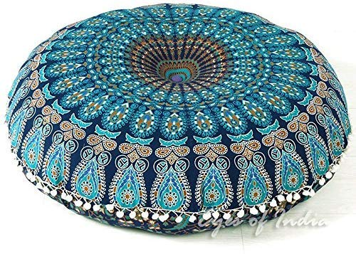 Eyes of India - 32 Blue Mandala Large Floor Pillow Cover Meditation Cushion Seating Throw Hippie Round Colorful Decorative Bohemian Accent Boho Chic Dog Bed Indian Pouf Ottoman Handmade Cover ONLY