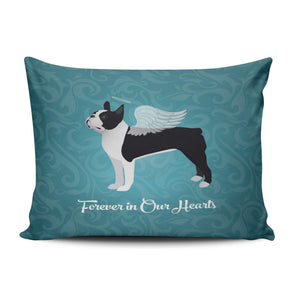 XIAFA Home Custom Pillowcase Black Boston Terrier Dog Angel Pet Teal Simple Decorations Sofa Throw Pillow Case Cushion Cover One Sided Printed Design 16X24 Inch (Set of 1)