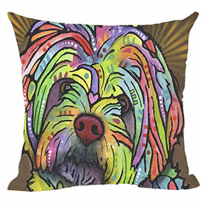 CafeTime Lovely Pet Dog Labrador Pillow Covers Custom Throw Pillow Cases for Gift Colorful Art Dog Square Decorative Cushion Cover for Sofa Couch Seat 18x18 Inch