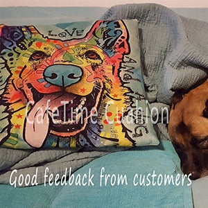 "CafeTime Lovely Pet Dog Labrador Pillow Covers Custom Throw Pillow Cases for Gift Colorful Art Dog Square Decorative Cushion Cover for Sofa Couch Seat 18""x18""Inch"