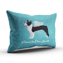 Load image into Gallery viewer, XIAFA Home Custom Pillowcase Black Boston Terrier Dog Angel Pet Teal Simple Decorations Sofa Throw Pillow Case Cushion Cover One Sided Printed Design 16X24 Inch (Set of 1)