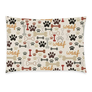WECE Dog Paws and Bones Pillowcase - Funny Paw Prints Dog Pet Zippered Pillowcase, Pillow Protector, Best Kids or Baby Pillow Cover - 20x30 inches