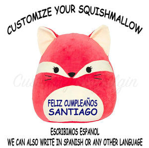 "Squishmallow Customized Original Kellytoy Fifi The Red Fox 8"" Create Your Own Super Soft Plush Toy Stuffed Animal Pet Pillow Gift Holiday Christmas"