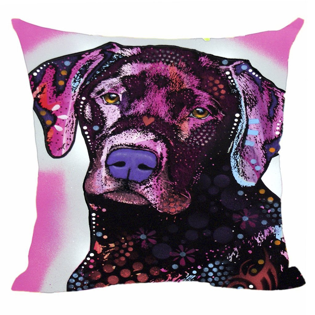 CafeTime Cute Pet Dog Labrador Pillow Covers Custom Throw Pillow Cases for Gift Colorful Art Dog Square Decorative Cushion Cover for Sofa Couch Seat 18