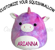 "Load image into Gallery viewer, Squishmallow Customized Original Kellytoy Tie Dye Rainbow Unicorn 8"" Create Your Own Super Soft Plush Toy Stuffed Animal Pet Pillow Christmas,Birthday Gift"