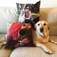 "Load image into Gallery viewer, Shop&Three Custom Design Photos or Text Outdoor/Indoor Throw Pillowcase,Personalized Pet Photo Pillow, Love Photo Throw Pillow,Wedding Keepsake Throw Pillow 18"" x 18"""
