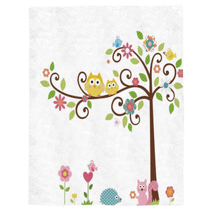 "Flannel Fleece Throw Blanket Cartoon Owl Squirrel Animal Pattern Extra Soft Double Side Fuzzy & Plush Summer Blanket, Fluffy Cozy Blanket for Adult kids Pet - Lightweight,Non Shedding, 50""x80"""