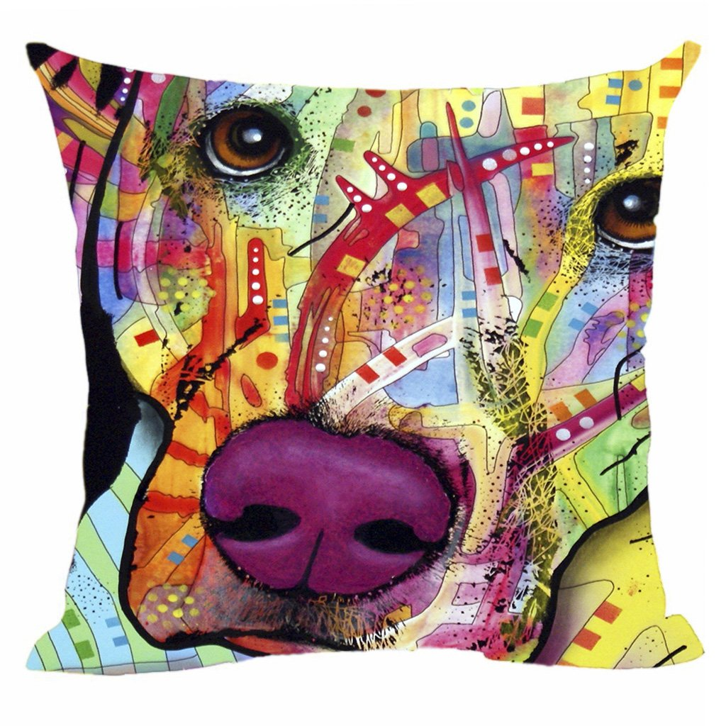 CafeTime Lovely Pet Dog Labrador Pillow Covers Custom Throw Pillow Cases for Gift Colorful Art Dog Square Decorative Cushion Cover for Sofa Couch Seat 18