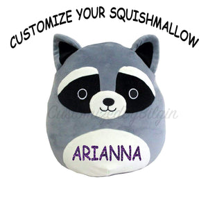 "Squishmallow Customized Original Kellytoy Rocky The Raccoon 8"" Create Your Own Super Soft Plush Toy Stuffed Animal Pet Pillow Gift Holiday Christmas"