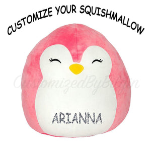 "Squishmallow Customized Original Kellytoy Piper The Pink Penguin 8"" Create Your Own Super Soft Plush Toy Stuffed Animal Pet Pillow Gift Holiday Christmas CustomizedbyBilgin"