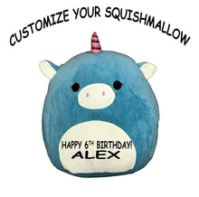"Load image into Gallery viewer, Squishmallow Customized Original Kellytoy Ace The Blue Unicorn 16"" Create Your Own Super Soft Plush Toy Stuffed Animal Pet Pillow Birthday Gift"