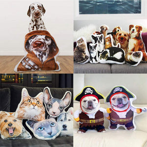 VEELU Custom Pet Pillow Personalized Dog Cat Shaped Pillow - Custom Handmade Double-Sided 3D Printing Photo Pillow Soft Plush Toy Home Sofa Car Seat Decorative Unique Birthday Gift