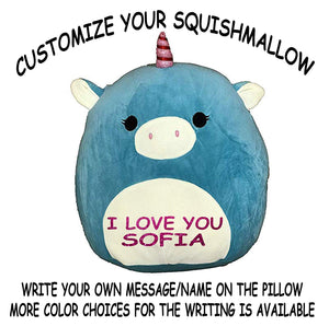 "Squishmallow Customized Original Kellytoy Ace The Blue Unicorn 16"" Create Your Own Super Soft Plush Toy Stuffed Animal Pet Pillow Birthday Gift"