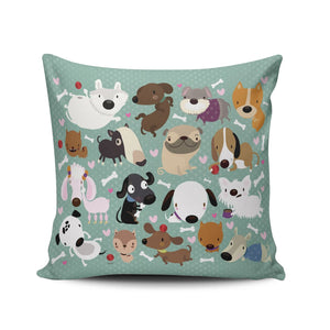 Hoooottle Custom Luxury Funny Colorful Cartoon Dog Pet Puppy Collection Euro Square Pillowcase Zippered One Side Printed 26x26 Inches Throw Pillow Case Cushion Cover